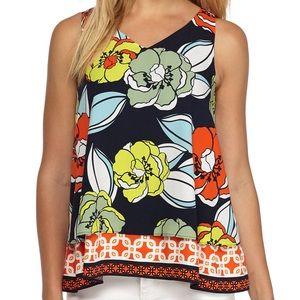 NWT Crown & Ivy Xs Floral Double Layer Tank Print